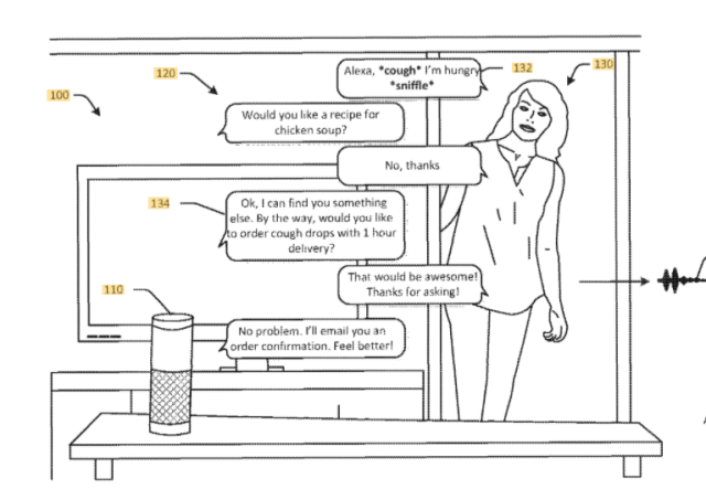 A patent illustration that presents how Amazon could use its emotion-detecting abilities to market products.