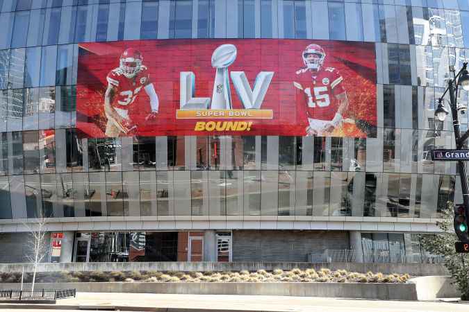 KANSAS CITY, MISSOURI - FEBRUARY 03: The T-Mobile Center is decorated with a banner to get the Kansas City Chiefs before Super Bowl LV on February 03, 2021 in Kansas City, Missouri. (Photo by Jamie Squire/Getty Images)